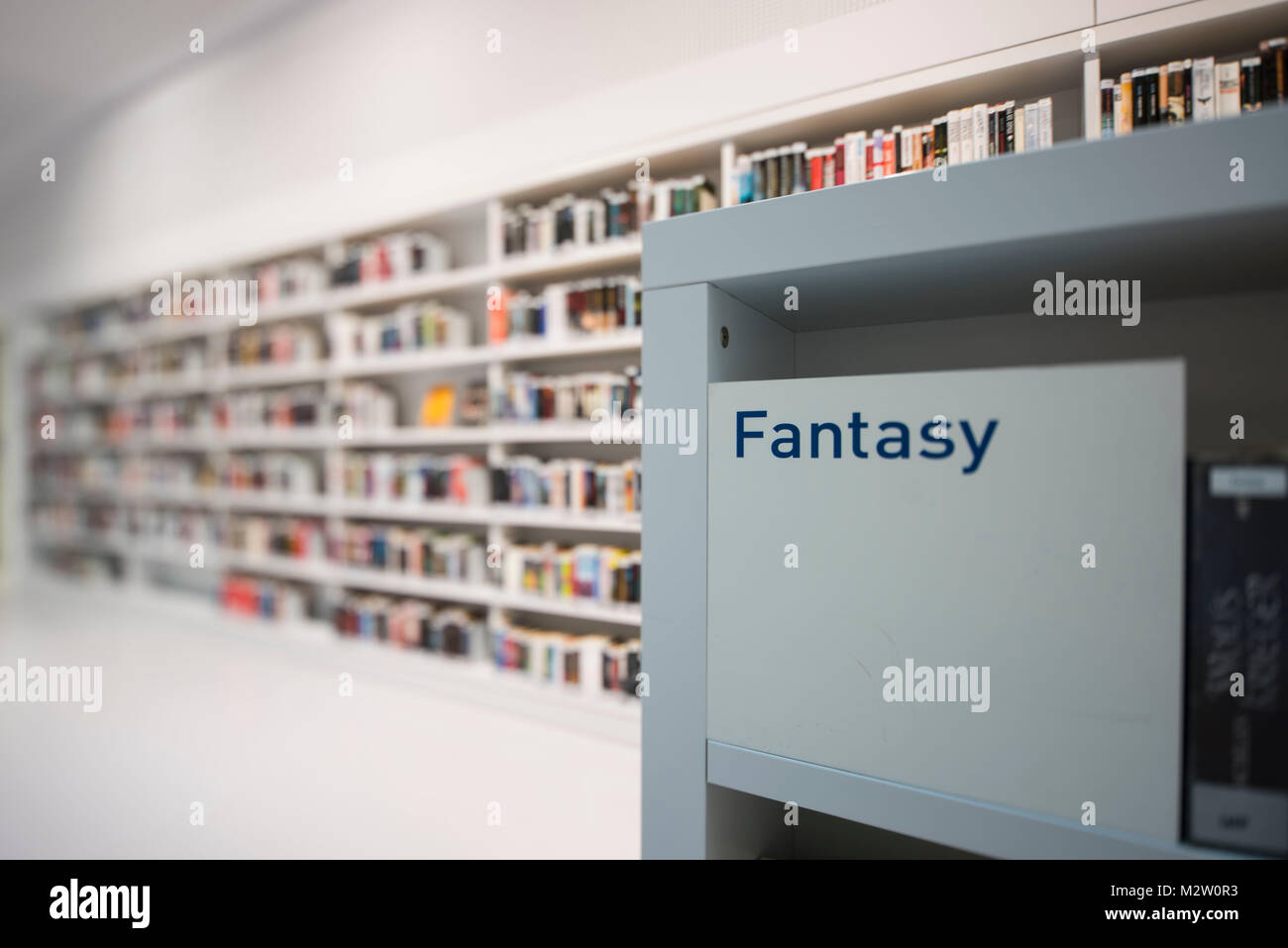 Bookshelf category Fantasy of the town library, architects RKW Eun Young Yi, Stuttgart, Baden-Wurttemberg, Germany - Stock Image