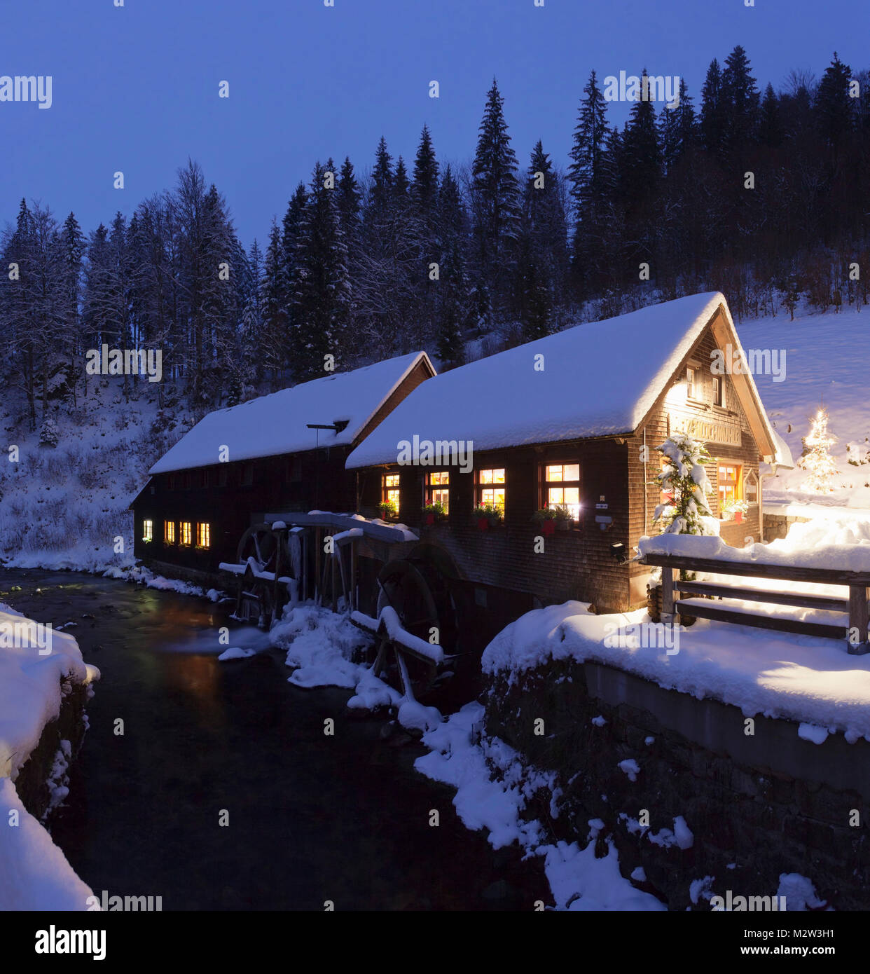Hexenlochmühle in winter, Black Forest, Baden-Wurttemberg, Germany Stock Photo