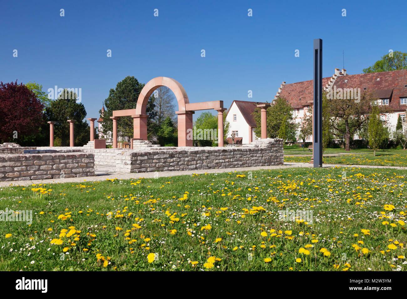 Römermuseum Villa Urbana, in front of the Malteserschloss, Heitersheim, Baden, Markgräfler Land, Black - Stock Image