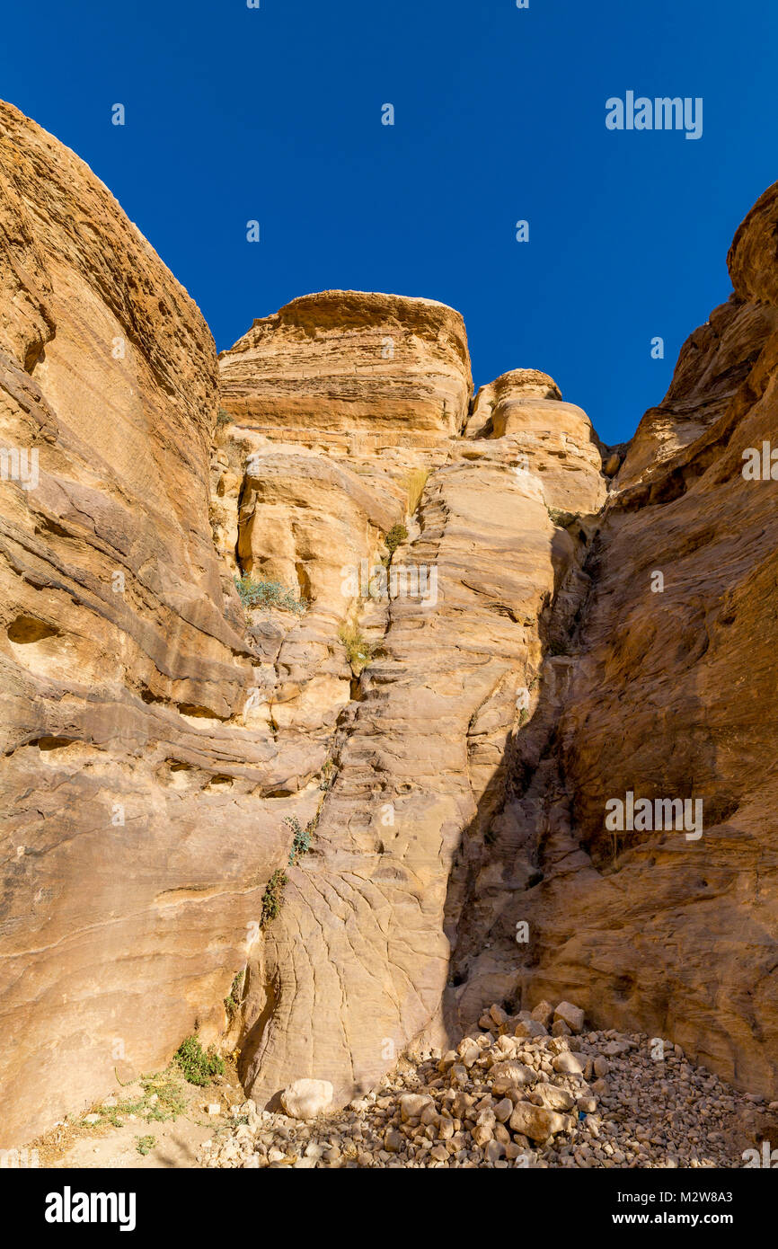 rock formations, The Siq, gorge, Petra, capital of the Nabataeans, UNESCO world cultural heritage, Jordan, Asia - Stock Image