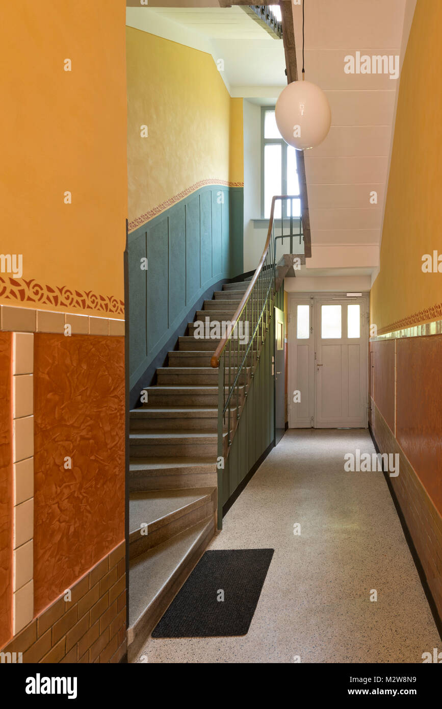 Germany, design of a hallway in an old apartment building Stock