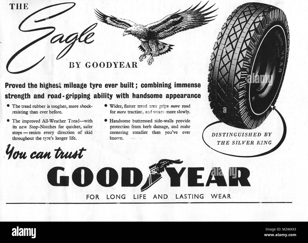 Goodyear Eagle tyre advert,, advertising in Country Life magazine UK 1951 - Stock Image