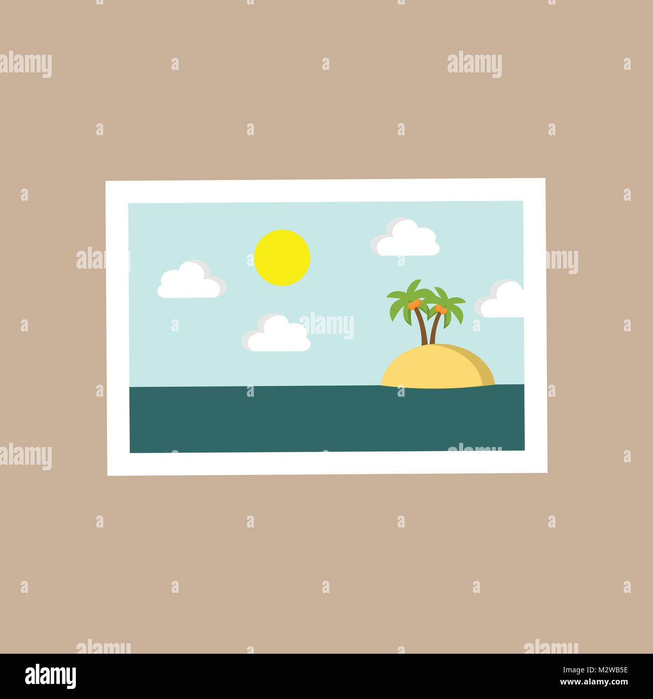 Small Island Portrait Scenery Vector Illustration Graphic Design - Stock Vector