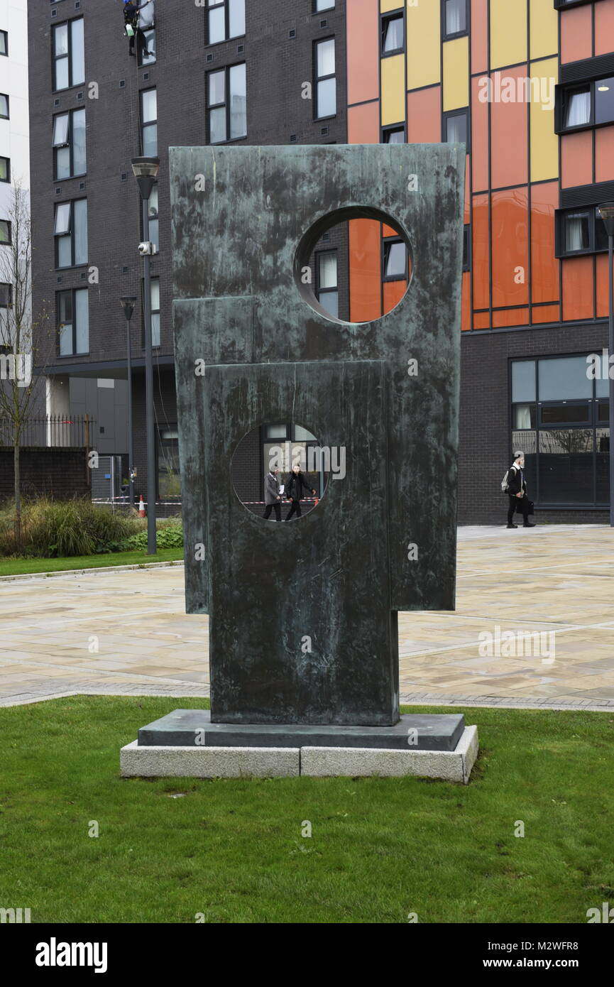 Squares With Two Circles (1963) by British artist Barbara Hepworth located on the University of Liverpool campus. - Stock Image