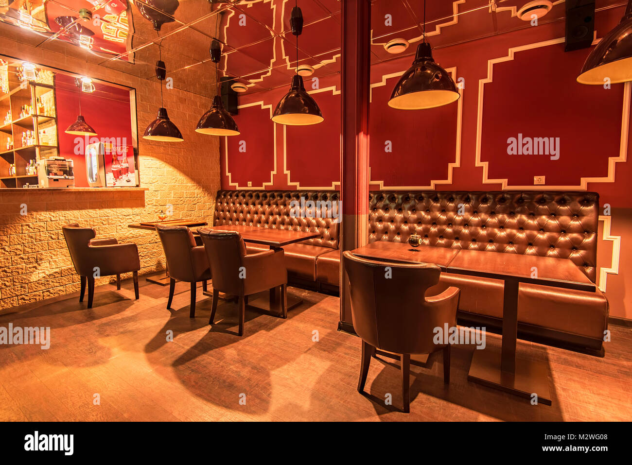 ROSTOV-ON-DON, RUSSIA - FEBRUARY 2, 2018: Bar section in billiard hall - Stock Image