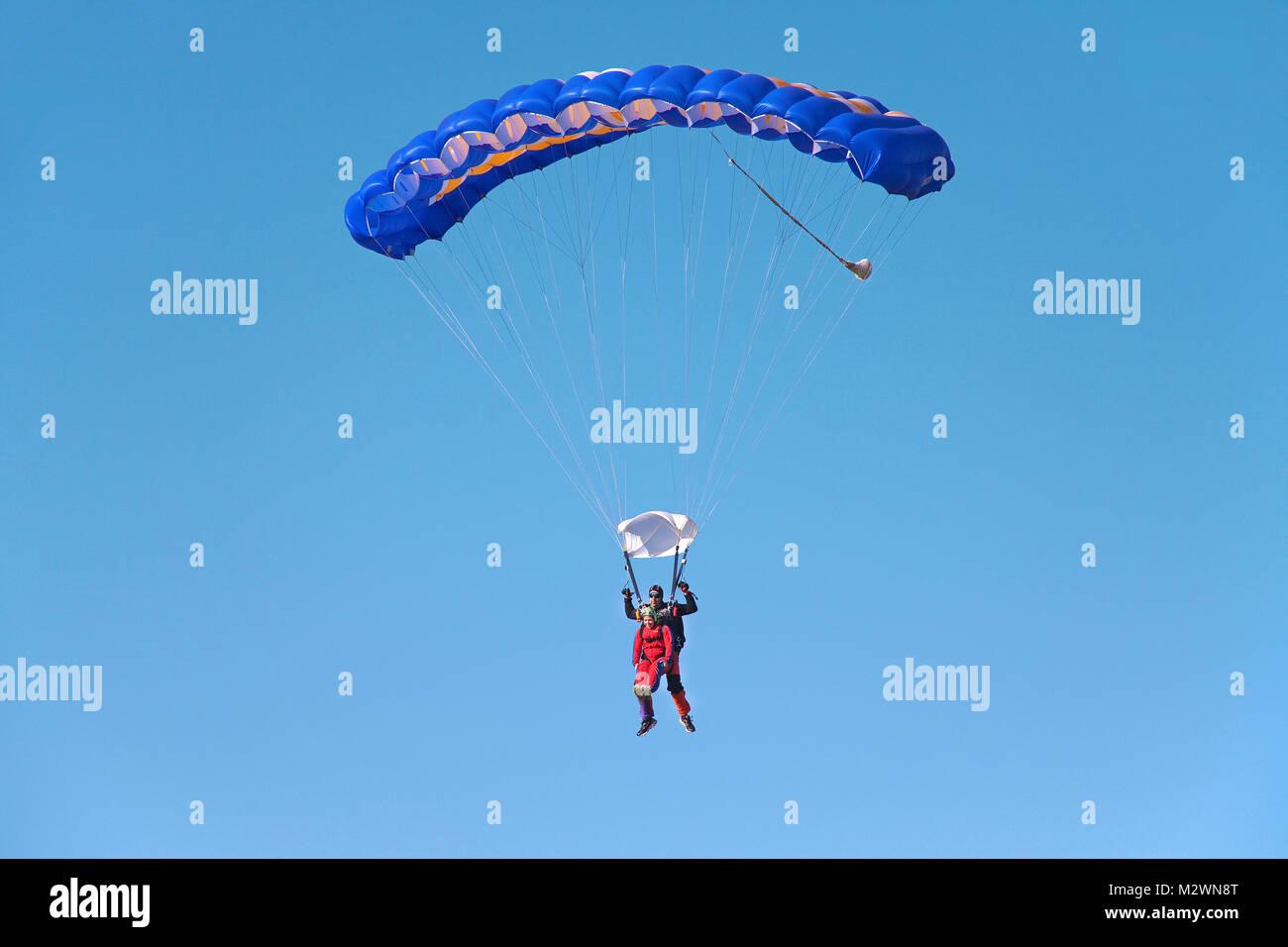 Paraglider, tandem jump, airport of Trier-Foehren, Foehren, Rhineland-Palatinate, Germany, Europe - Stock Image