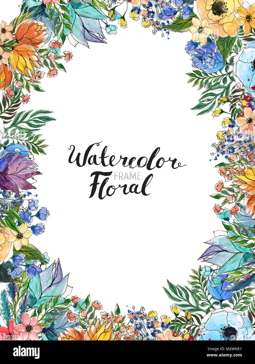 Watercolor Flower Border Stock Photo 173898649
