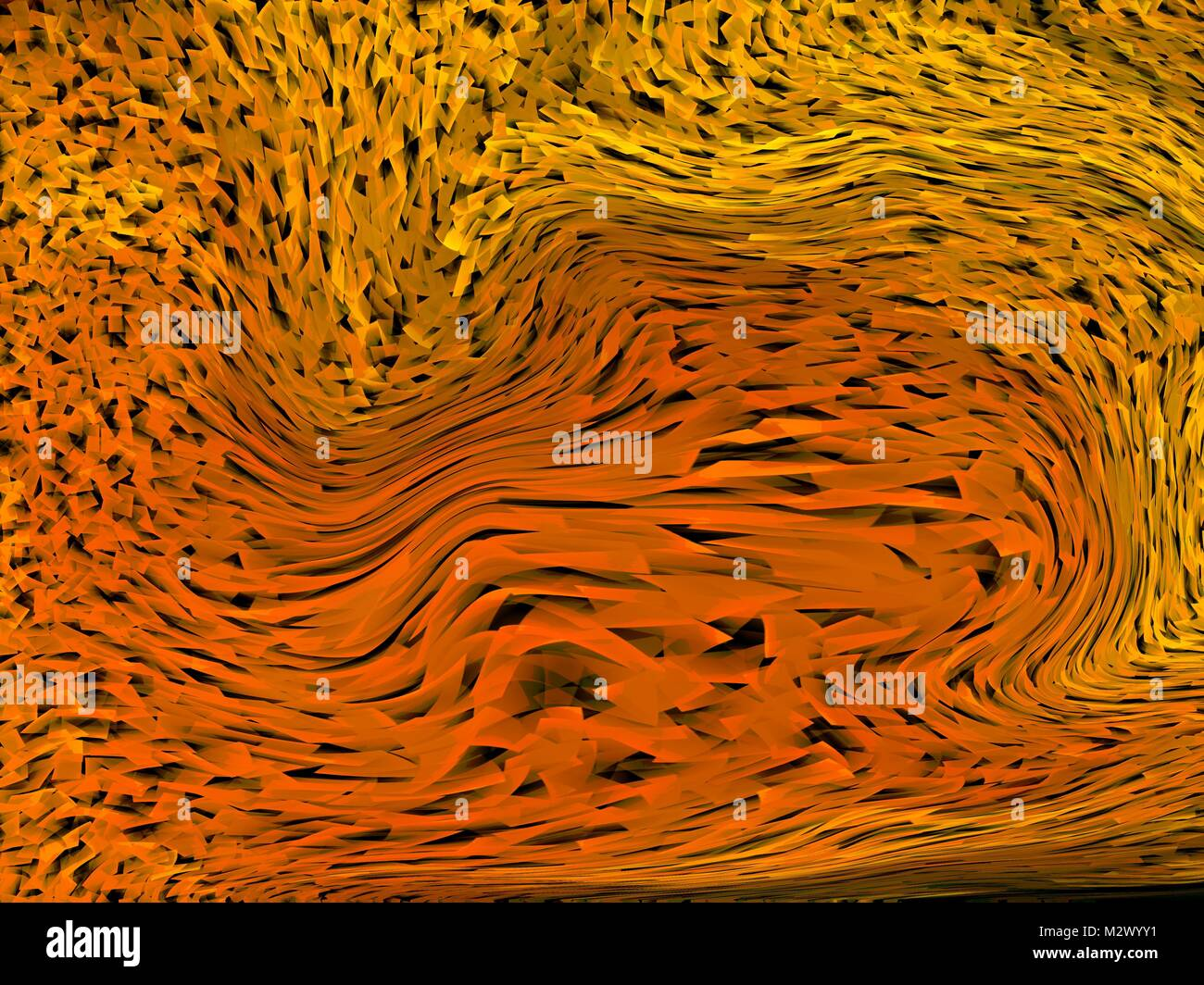 Abstract black and amber warped fractals background - Stock Image