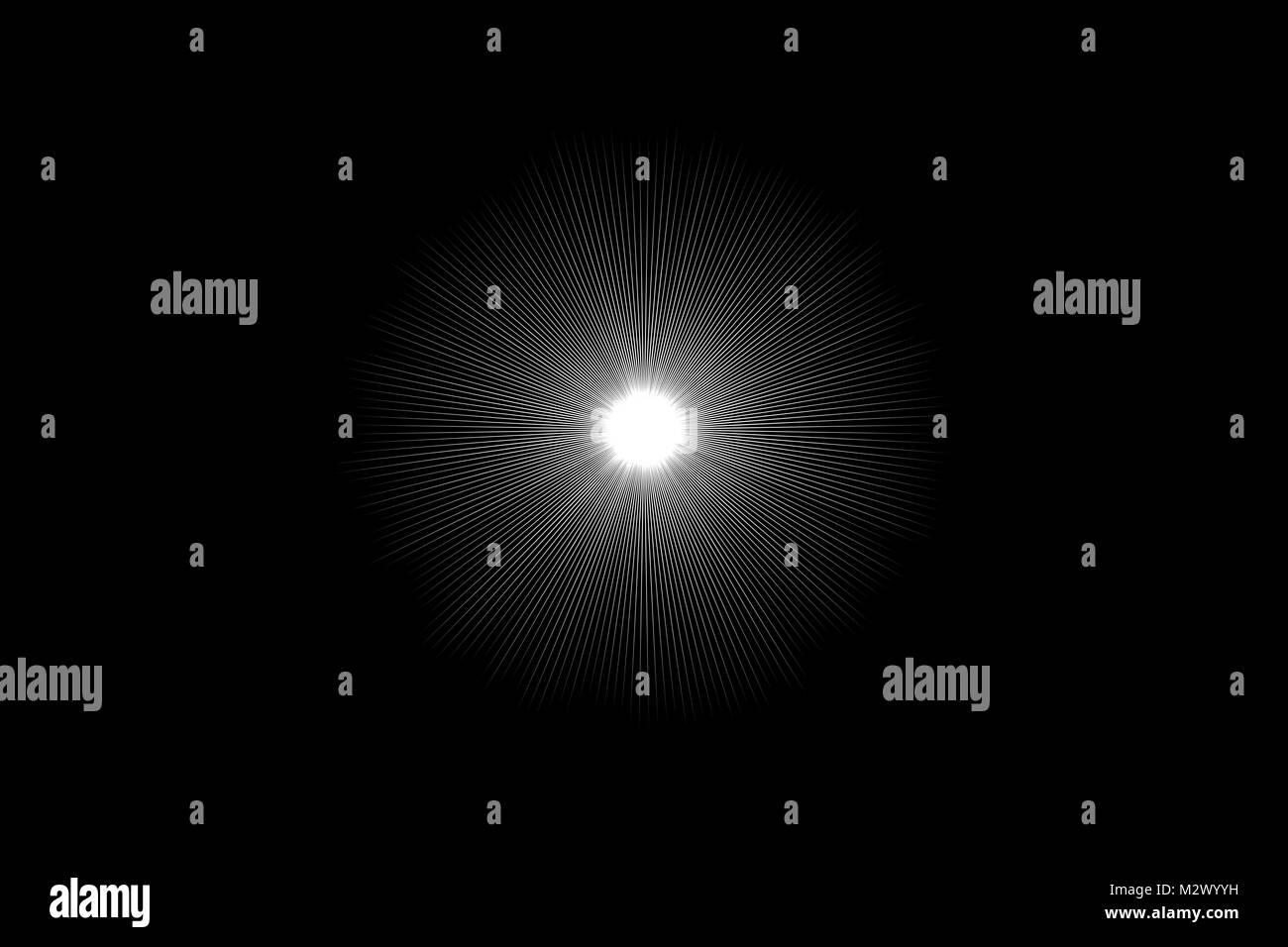 Abstract radiating white light background on black - Stock Image
