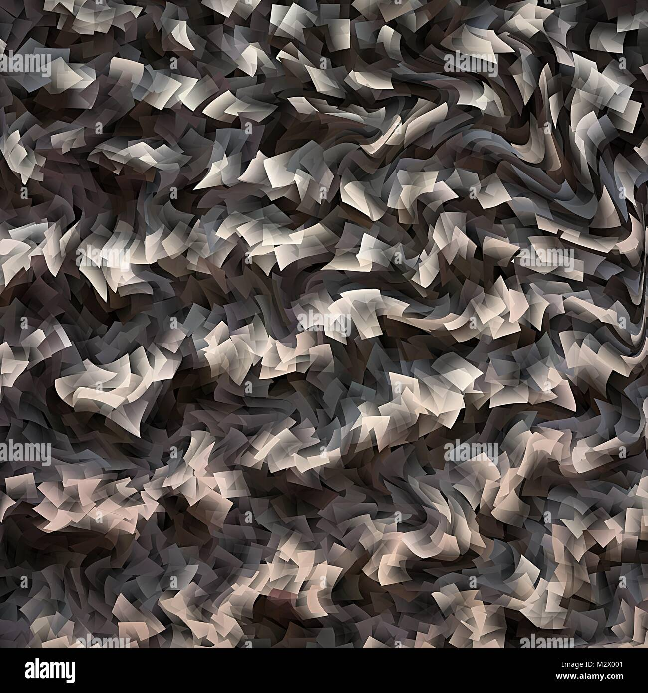 Abstract grey and black warped fractal background - Stock Image