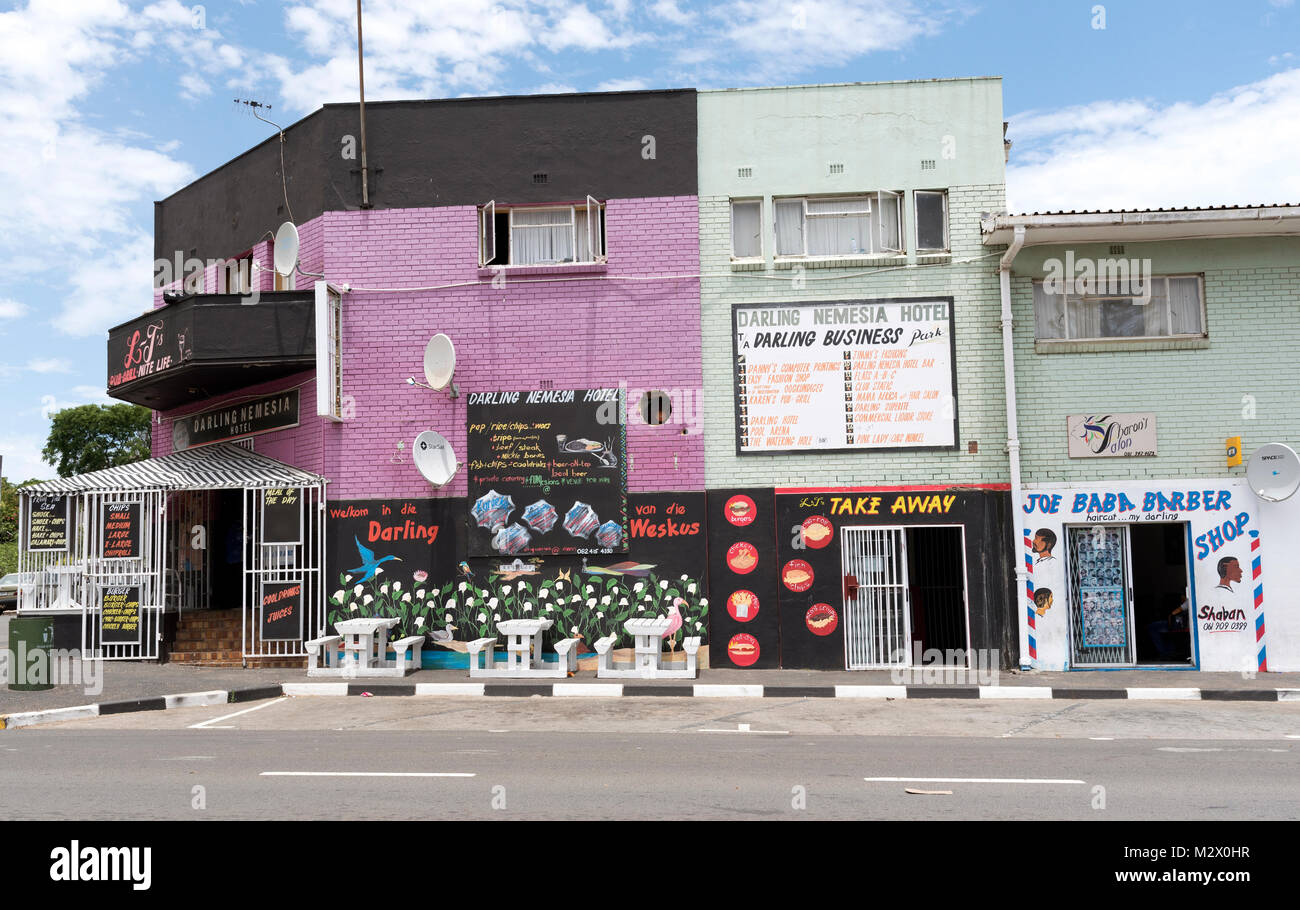 The Nemesa Hotel and businesses in the town centre of Darling in the Western Cape region of South Africa - Stock Image