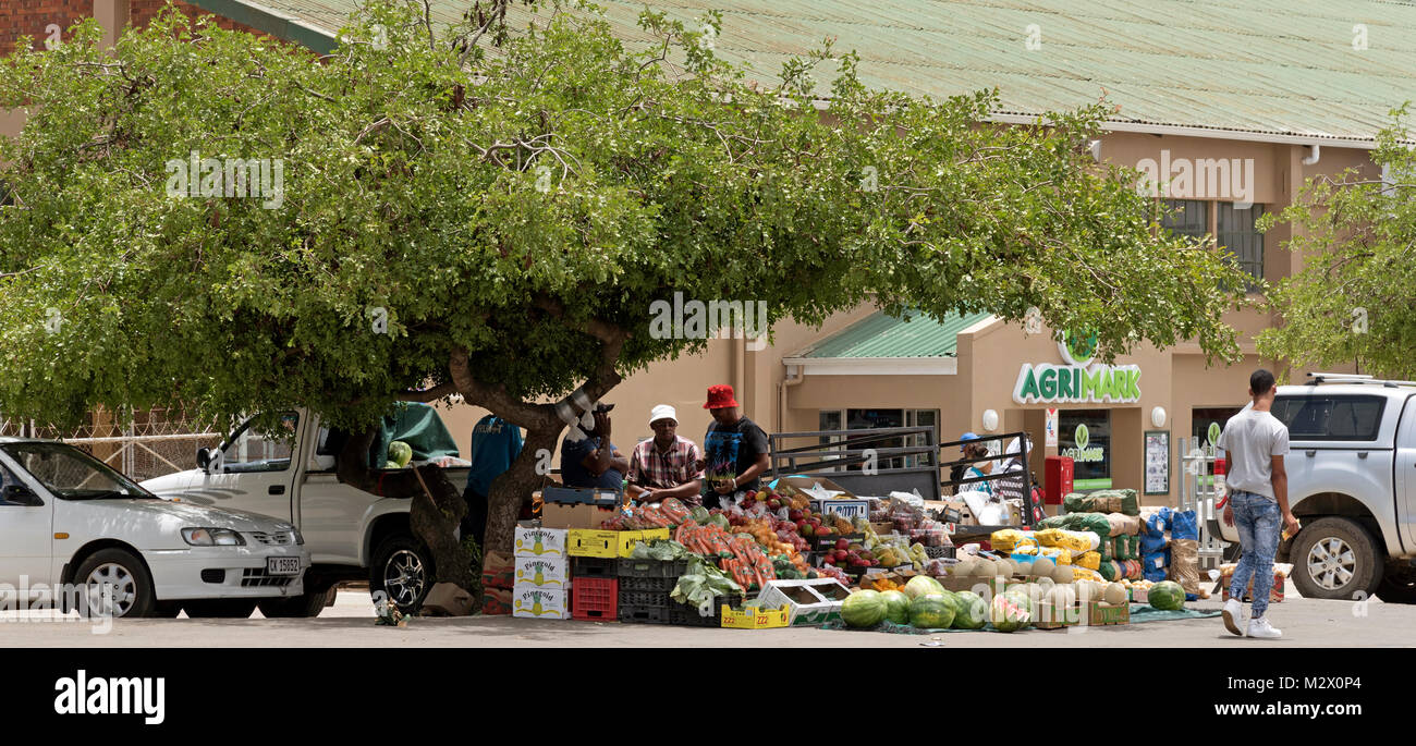 Market stall selling fruit and vegetables in the town centre of Darling in the Western Cape region of South Africa - Stock Image