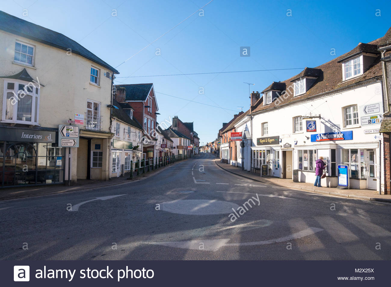 Fordingbridge High Street, New Forest, Hampshire, UK, on a sunny day with no traffic on the street. Stock Photo