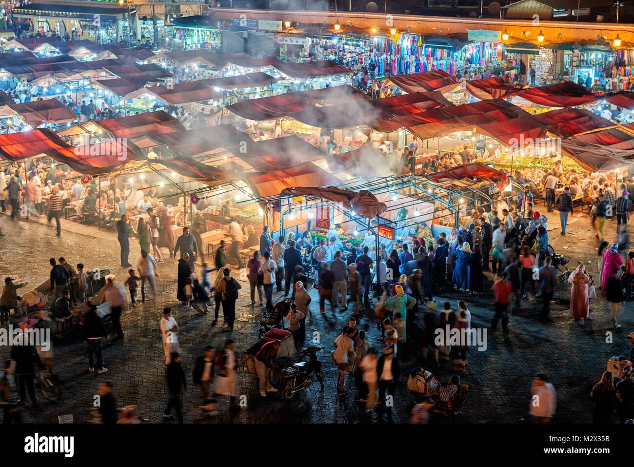 Djemaa el Fna at night, Marrakesh, Morocco, Africa Stock Photo
