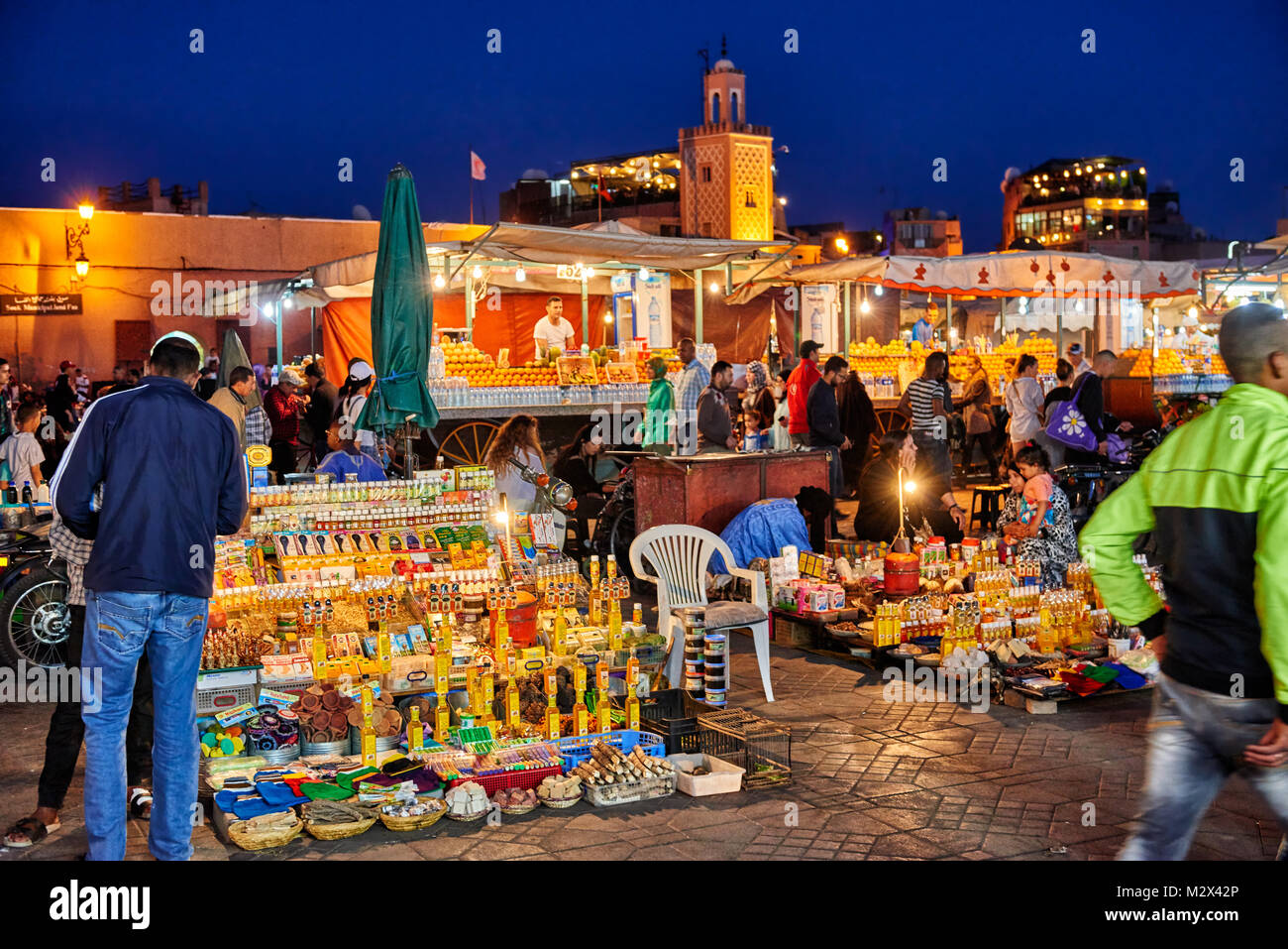 market stall on famous Djemaa el Fna at night, Marrakesh, Morocco, Africa Stock Photo