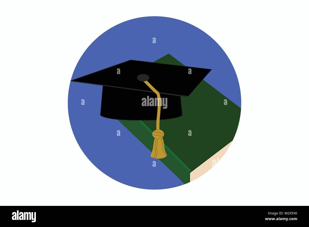 Academic icon, university icon, PhD icon, symbol for higher education, illustration of studies, studying icon, academic - Stock Image