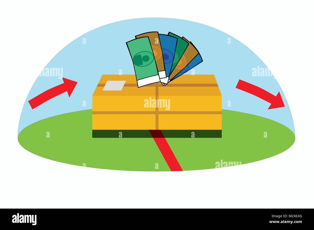 Illustration of package passing country border and duties have to be paid, vector of export/import taxes on goods - Stock Vector