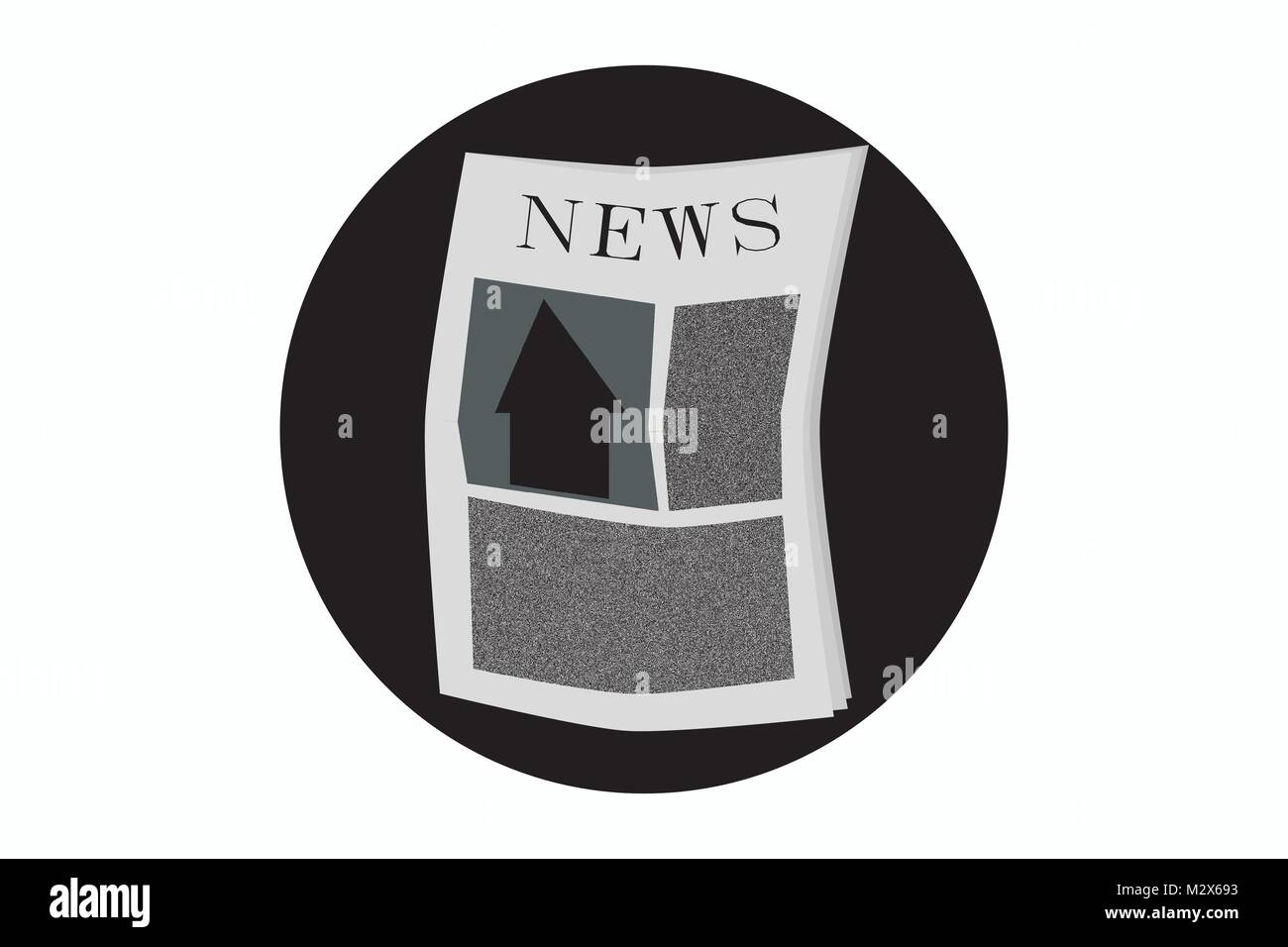News icon, newspaper symbol, vector of printed edition of newspaper, illustration of regional daily/ politics section/ - Stock Image