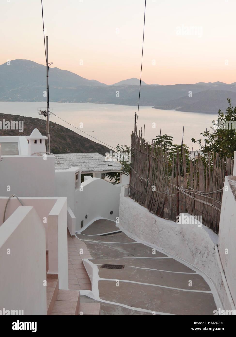 Streets of Tripiti leading to the Aegean Sea - Stock Image