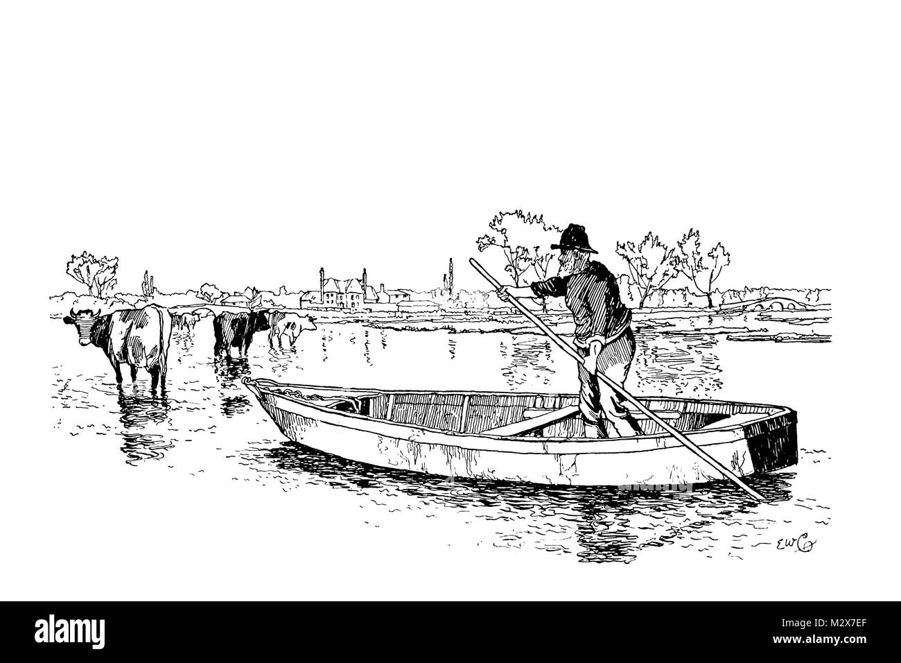 Ringwood Water Meadows, line illustration by Edward William Charlton from 1895 The Studio an Illustrated Magazine - Stock Image