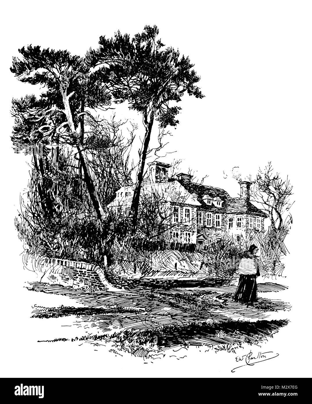 Moyles Court, Ringwood, line illustration by Edward William Charlton from 1895 The Studio an Illustrated Magazine - Stock Image