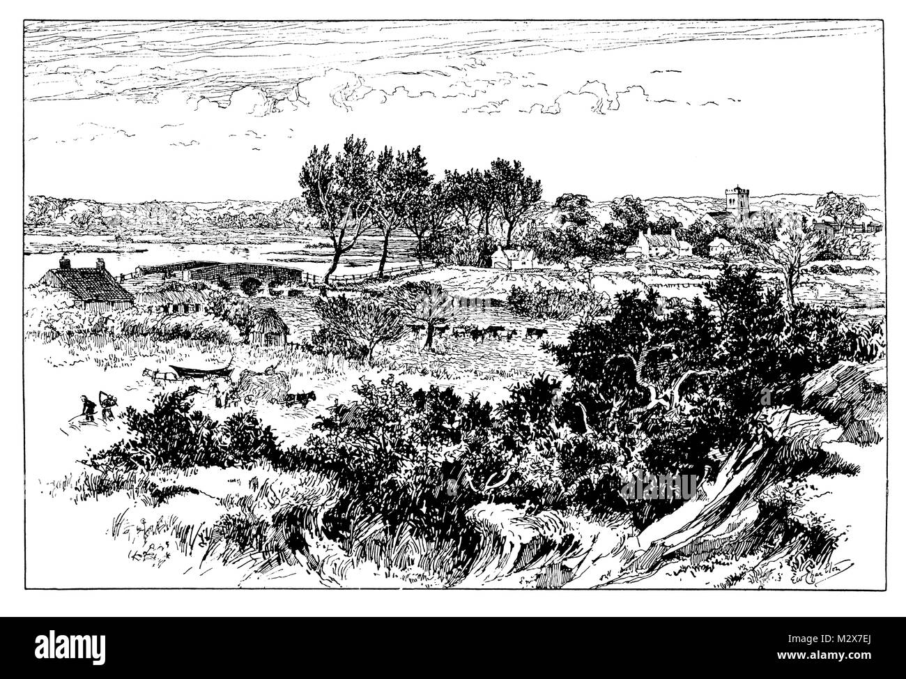 The Valley of the Avon at Ringwood, line illustration by Edward William Charlton from 1895 The Studio an Illustrated - Stock Image