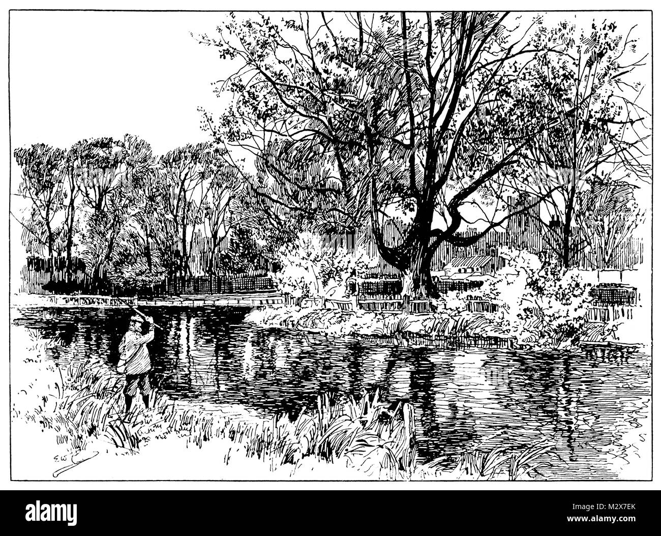 Ill678Ringwood, line illustration by Edward William Charlton from 1895 The Studio an Illustrated Magazine of Fine - Stock Image