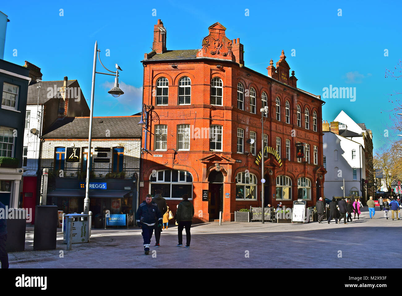 The Duke of Wellington pub (blt 1892) is located in the heart of bustling Cardiff city centre. Owned & operated - Stock Image