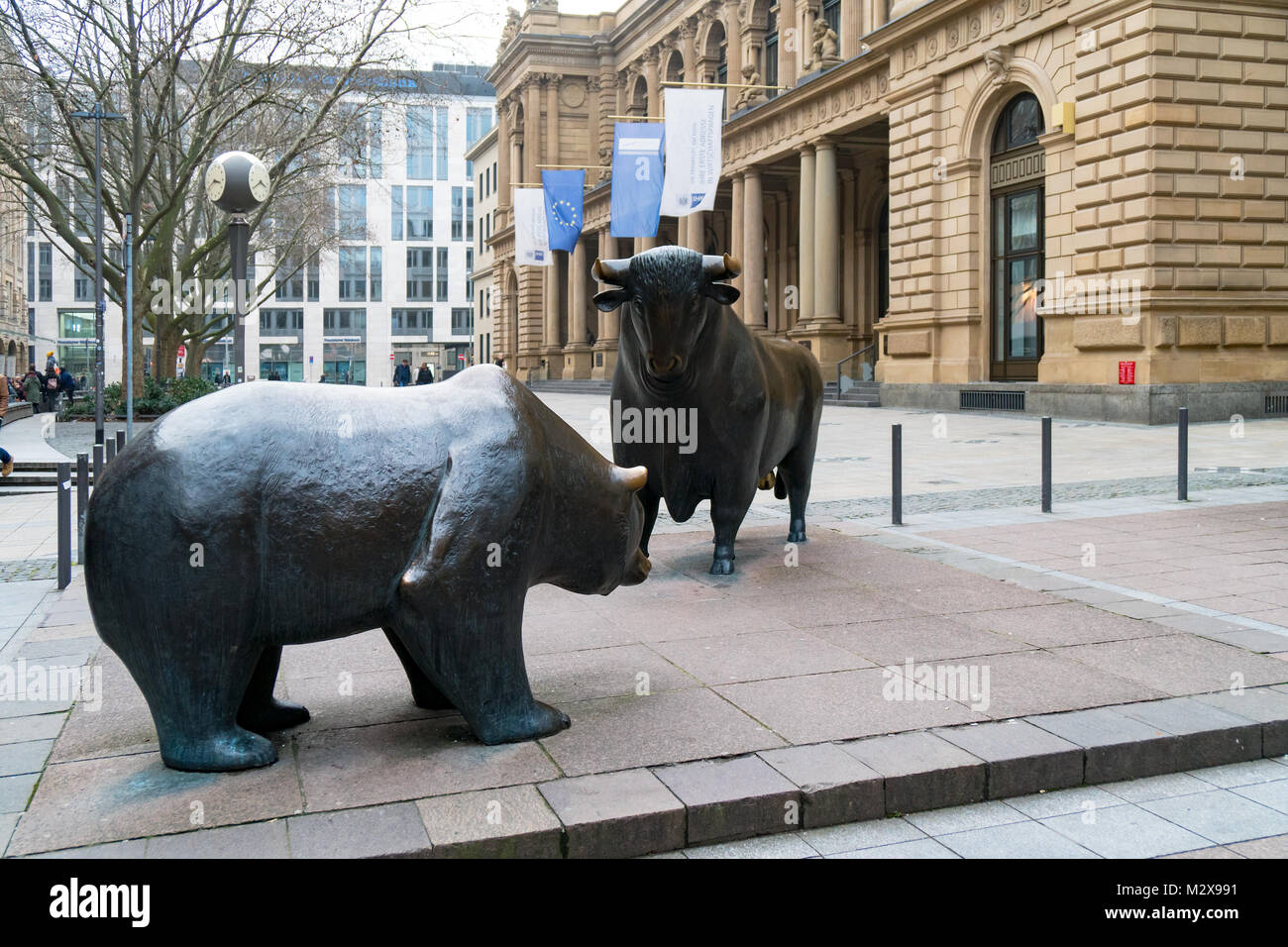 Bull and bear sculpture in front of historic Frankfurt Stock Exchange building Stock Photo