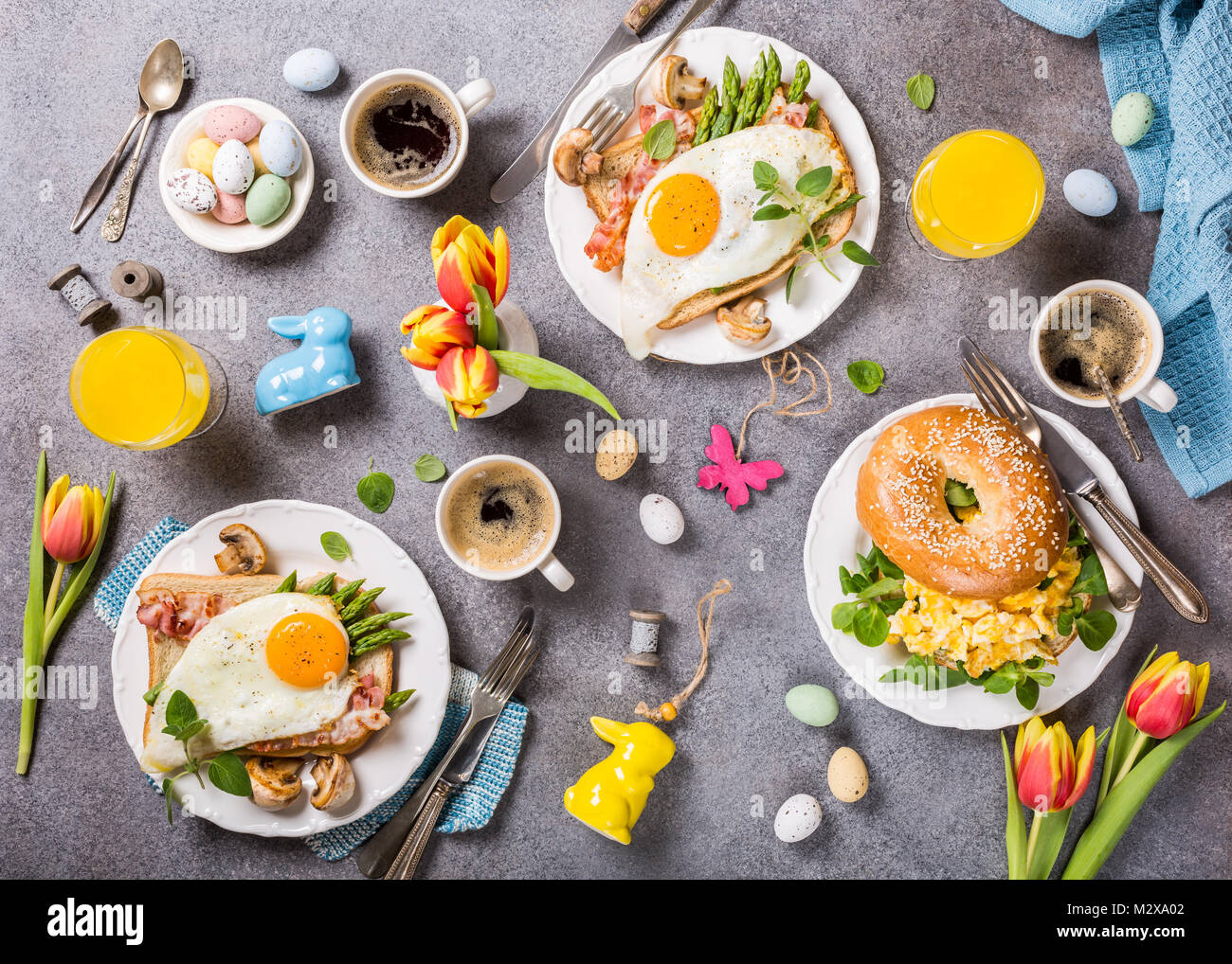 Easter holiday breakfast flat lay - Stock Image