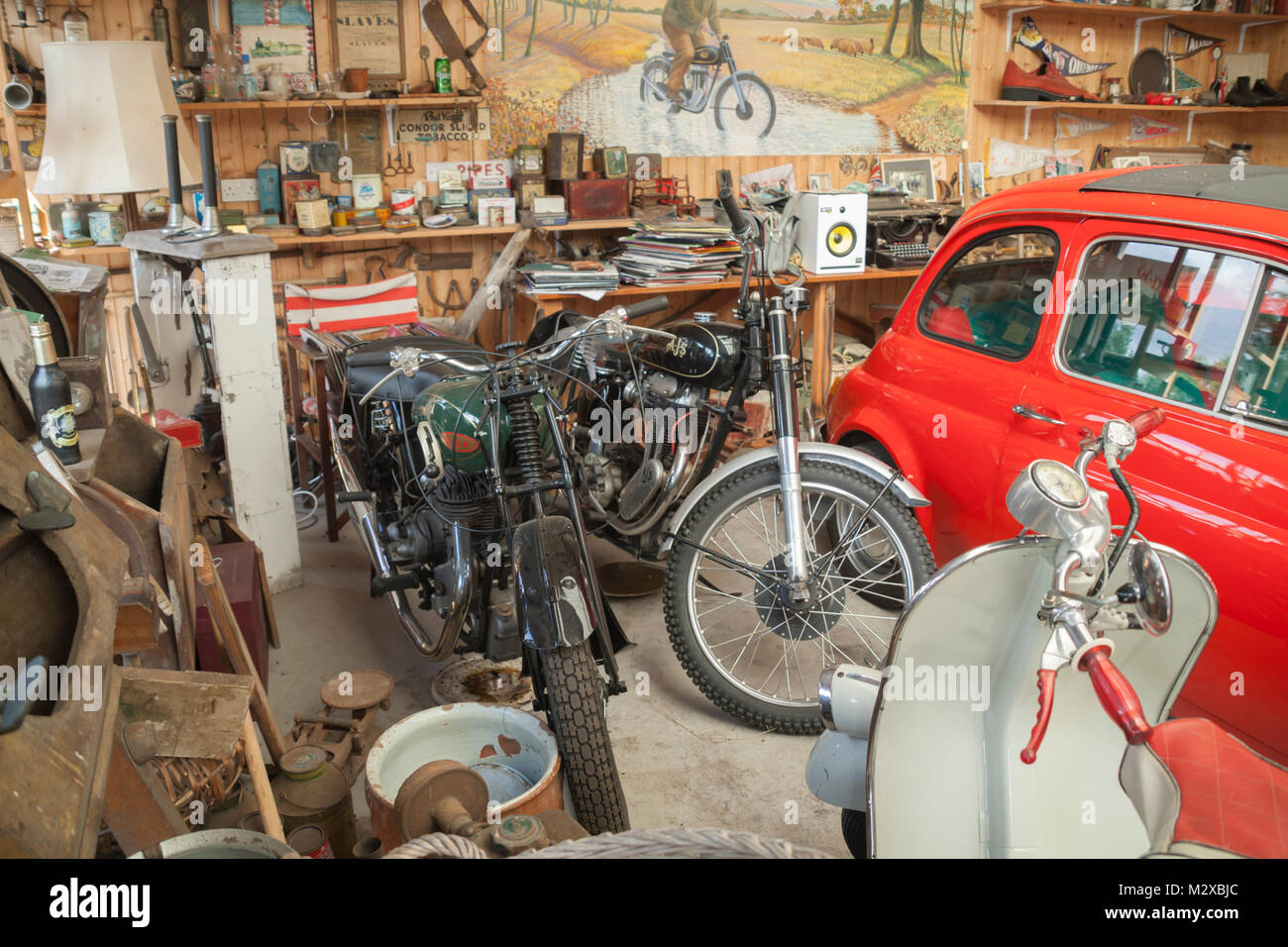 Vintage motorcycle collection in garage in Horncliffe, Berwick upon Tweed,  Northumberland, UK