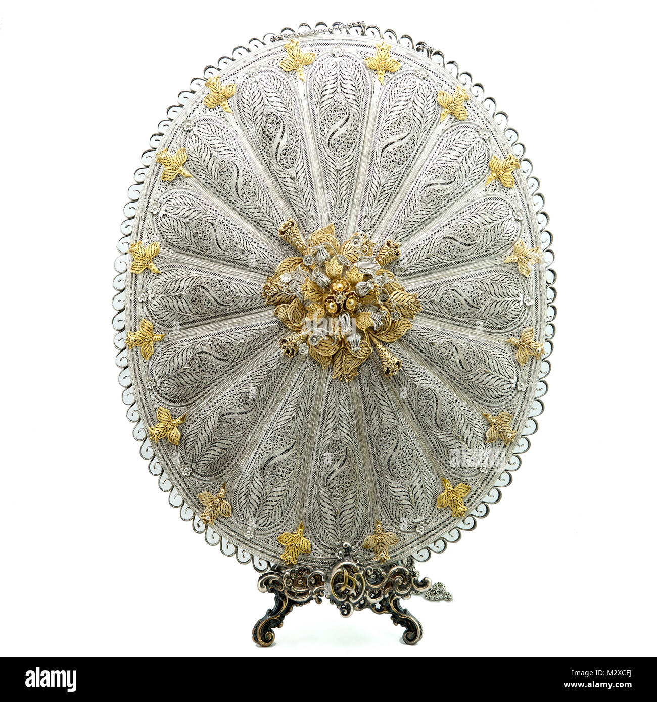 Beautiful silver and gold works of Italian contemporary art - Stock Image