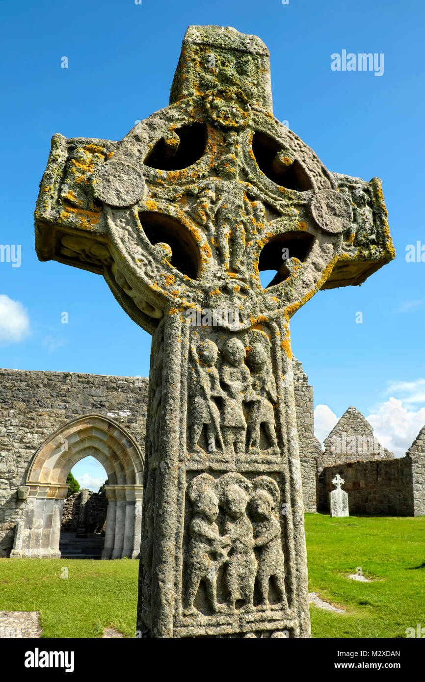 Cross of the Scriptures, Clonmacnoise Monastery, County Offaly, Ireland - Stock Image