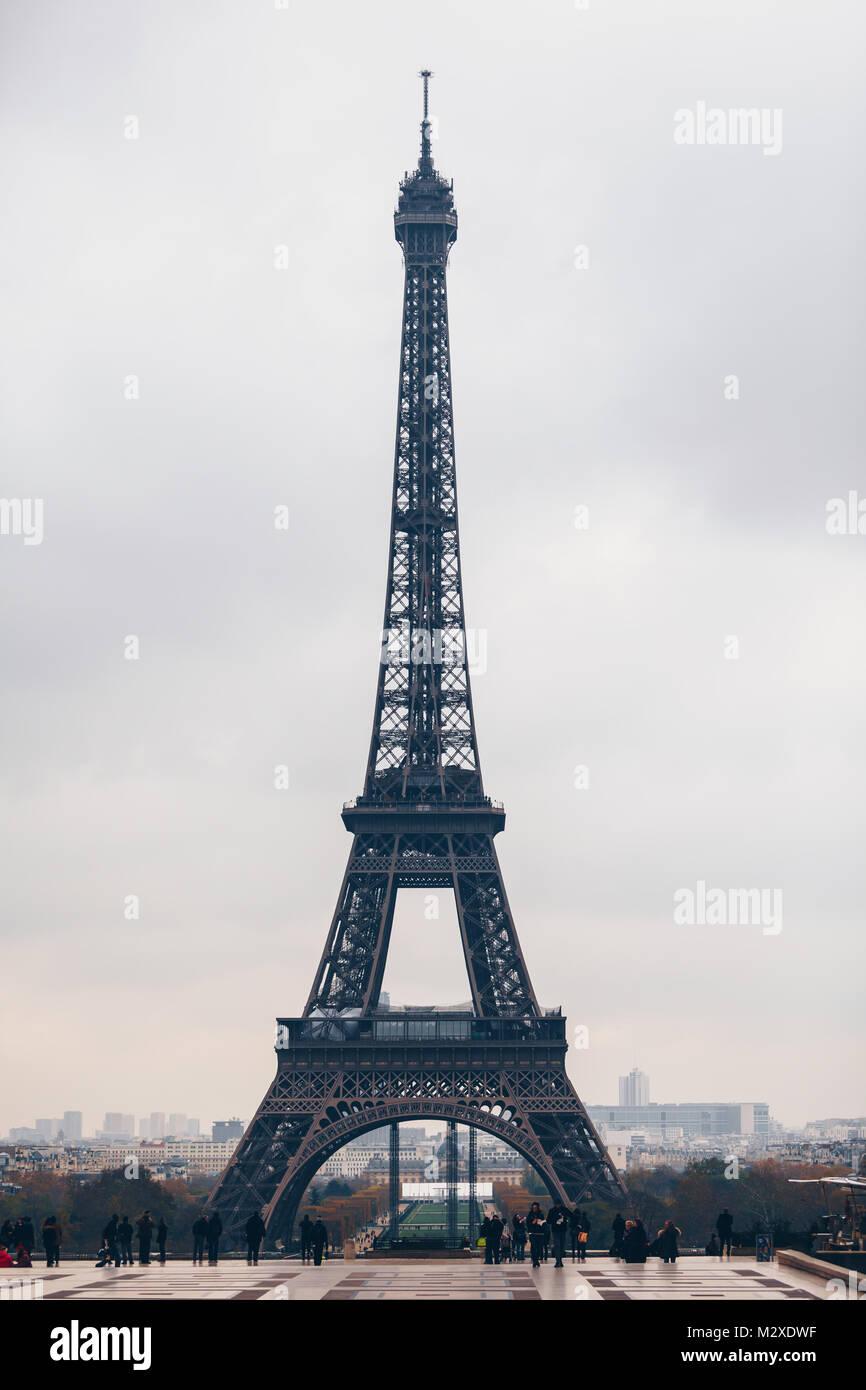 Beautiful View Of Eiffel Tower In Paris France Famous Touristic Places Europe European City Travel Concept