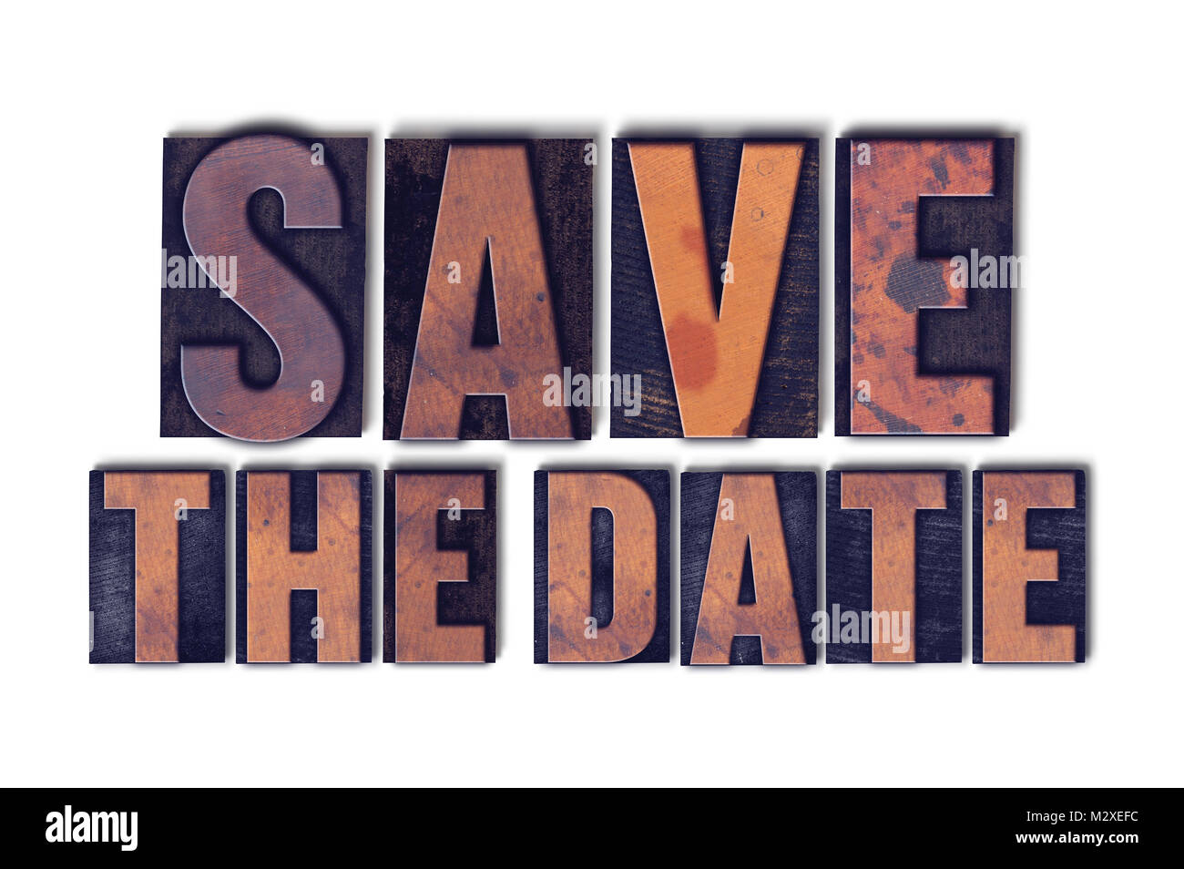 the words save the date concept and theme written in vintage wooden letterpress type on a white background