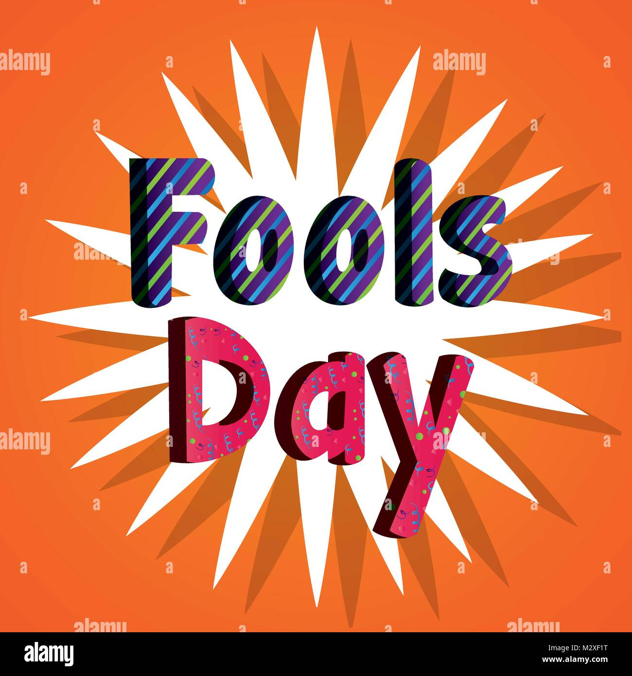 fools day poster typographic text - Stock Image