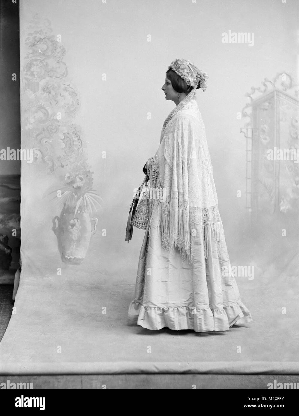 Studio shot of a single woman, ca. 105. - Stock Image