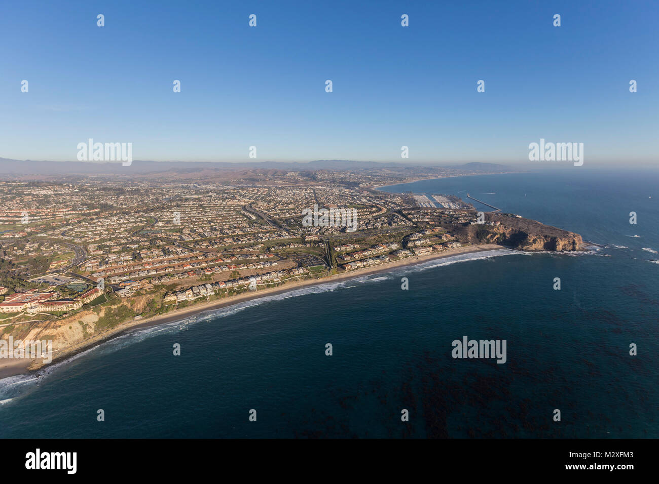 Aerial view of Dana Point in Orange County on the California coast. Stock Photo