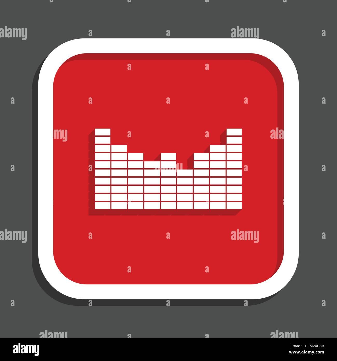 Sound vector icon. Flat design square internet red button. - Stock Image
