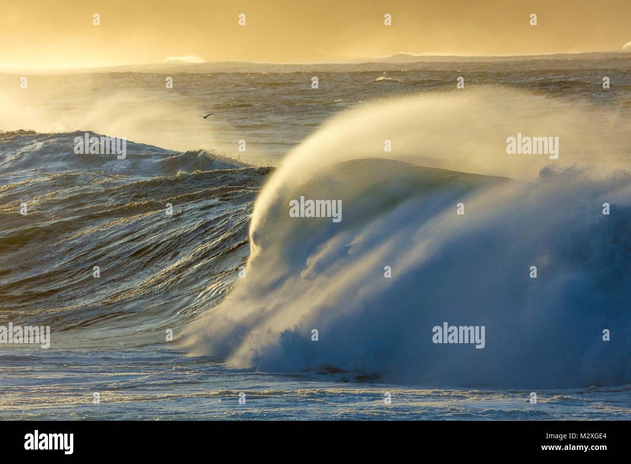 Atlantic storm waves breaking near Ballycastle, County Mayo, Ireland. Stock Photo