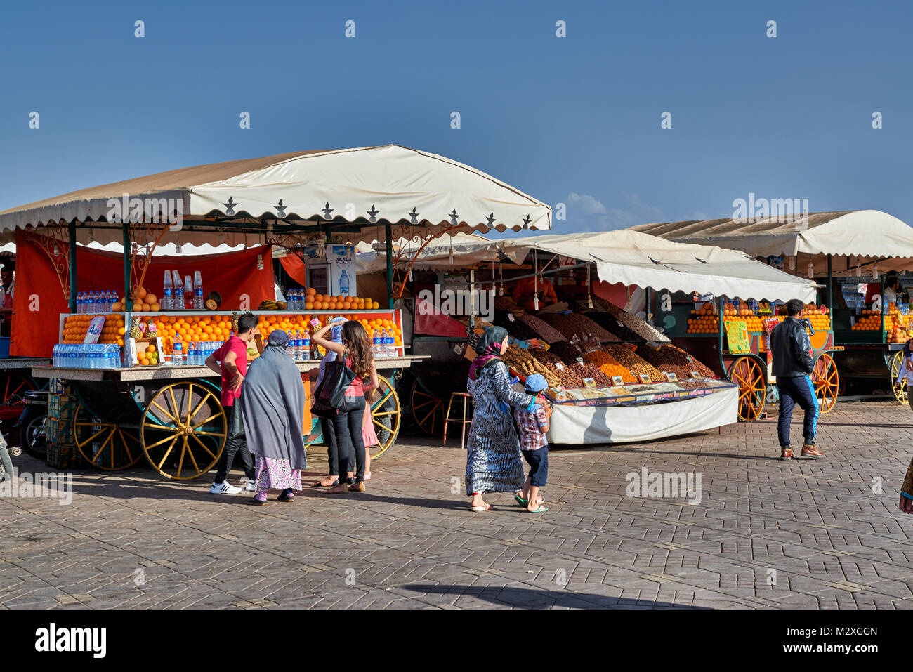 juice stalls on Jemaa el-Fnaa in Marrakesh, Morocco, Africa Stock Photo