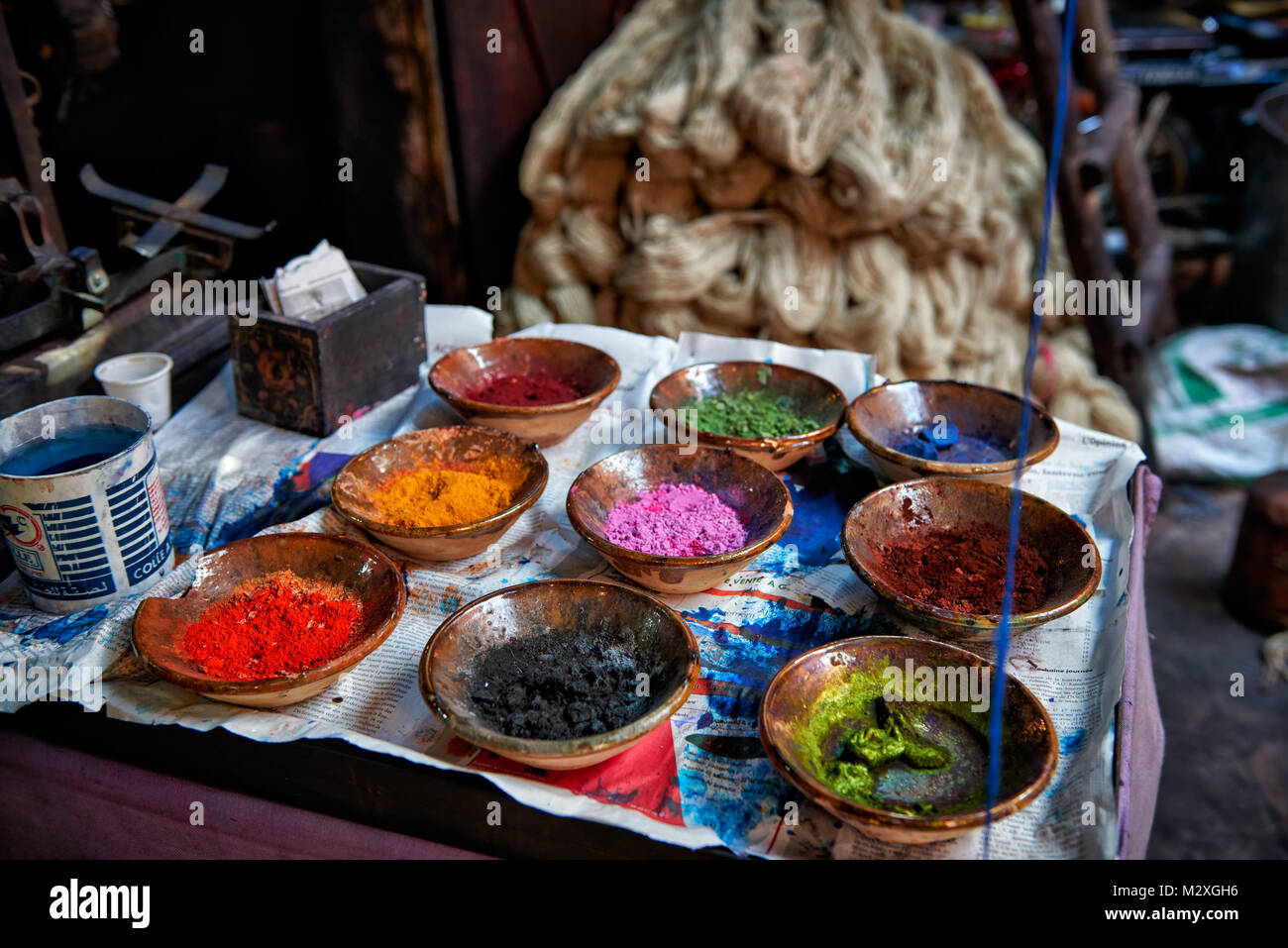 different colors for wool dying of textile souk of Marrakesh, Morocco, Africa - Stock Image