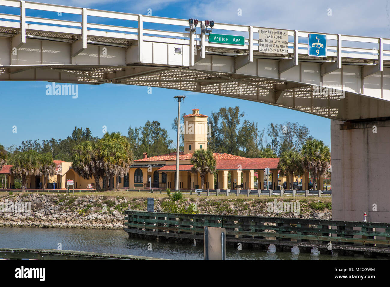 Historic Venice Seaboard Air Line Railway Station also known as the Venice Train Depot though the Venice Ave Bridge - Stock Image