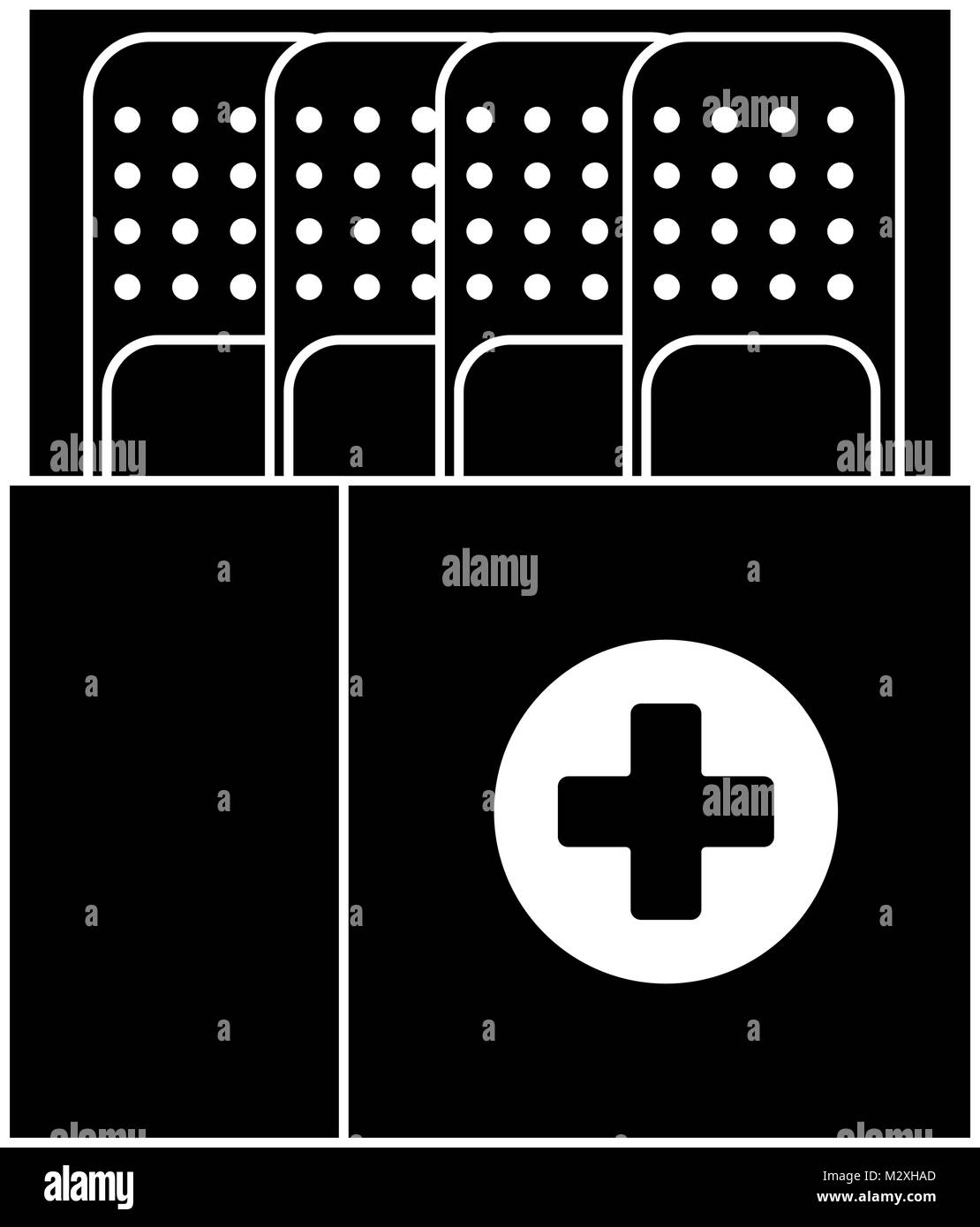 box packing with medicinal bandages isolated icon Stock Vector