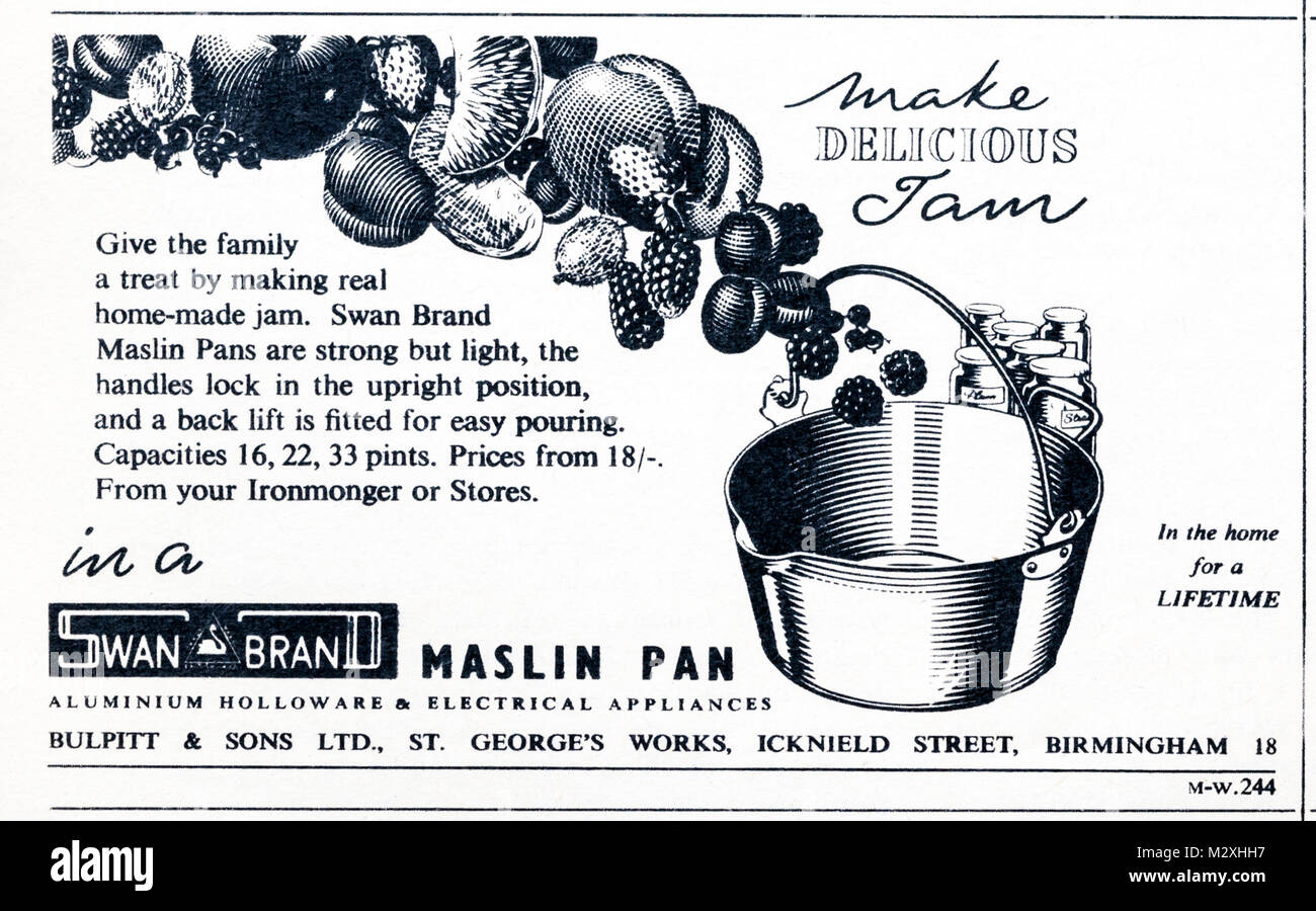 1950s magazine advertisement advertising Swan Brand preserving pans. - Stock Image