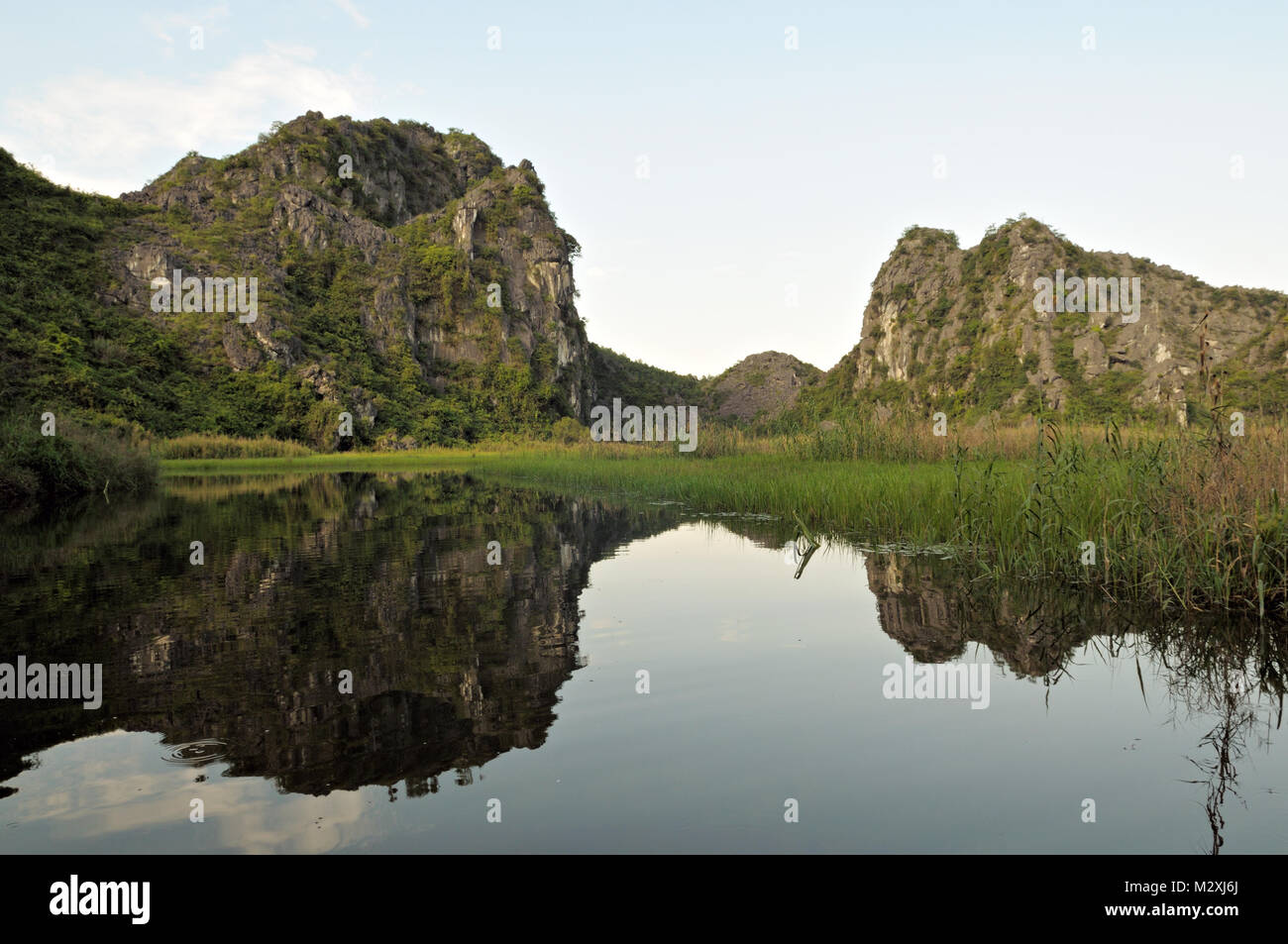 Mountainous landscape in the Van Long Nature Reserve, Ninh Binh Province, north Vietnam Stock Photo