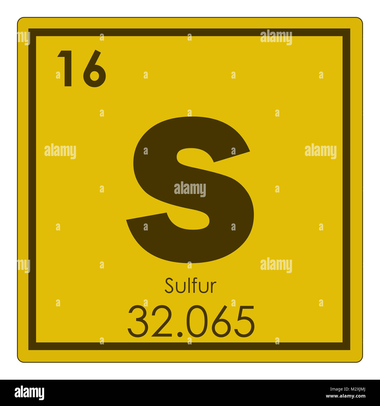 Sulfur Chemical Element Periodic Table Science Symbol Stock Photo