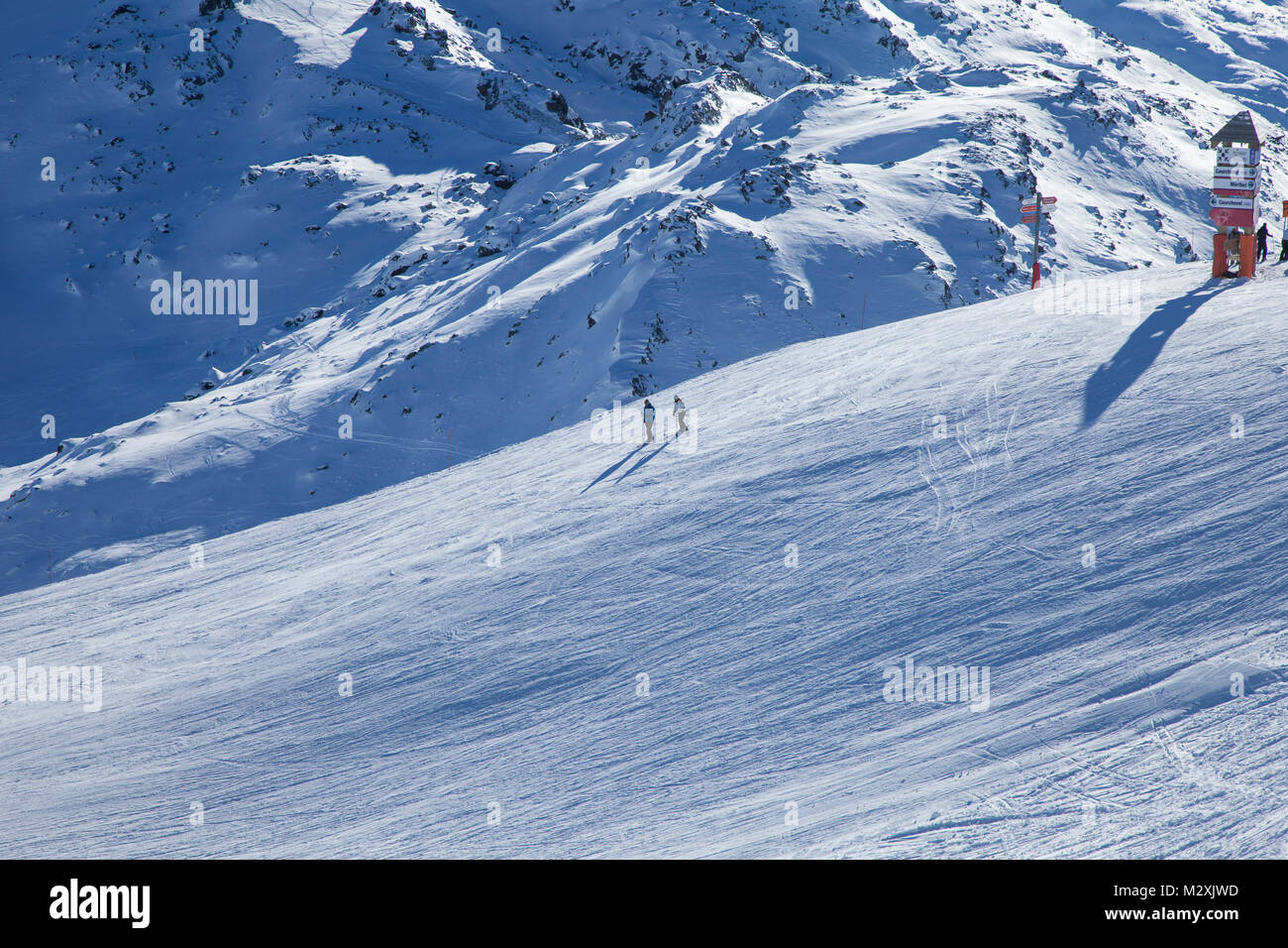 mountains and piste, Courchevel, Savoie, France. - Stock Image