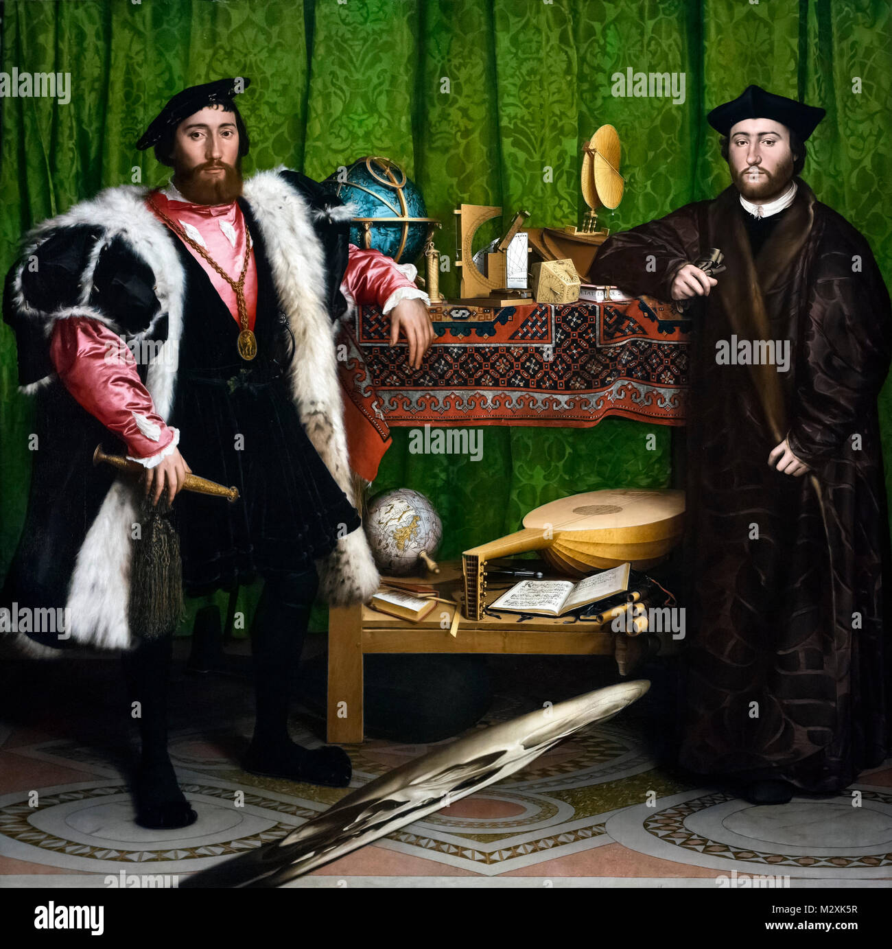 Holbein Ambassadors. Jean de Dinteville and Georges de Selve (The Ambassadors) by Hans Holbein the Younger (1497/8 - Stock Image