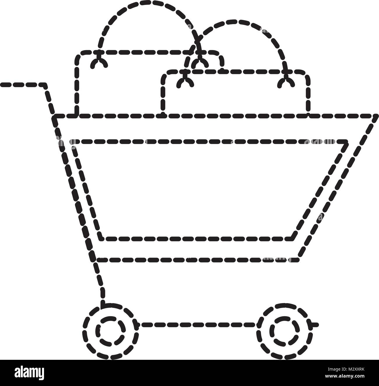 dotted shape shopping car with market buy bag - Stock Image